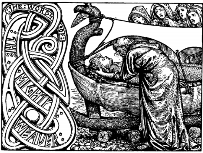 Odin's last words to Baldr. in: Bray, Olive  (éd.et trad.), The Elder or Poetic Edda, Collingwood, W. G. (illustrations), Londres : Printed for the Viking Club, 1908, p. 39